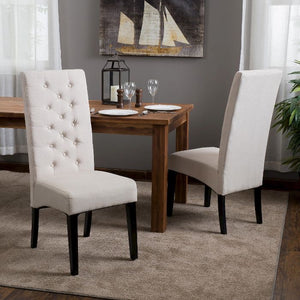 Linden Tall Back Natural Fabric Dining Chairs Set of 2 Natural(570)