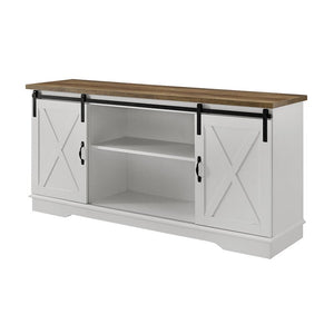 "Berene TV Stand for TVs up to 64"" White/Barnwood AS IS(1627)"