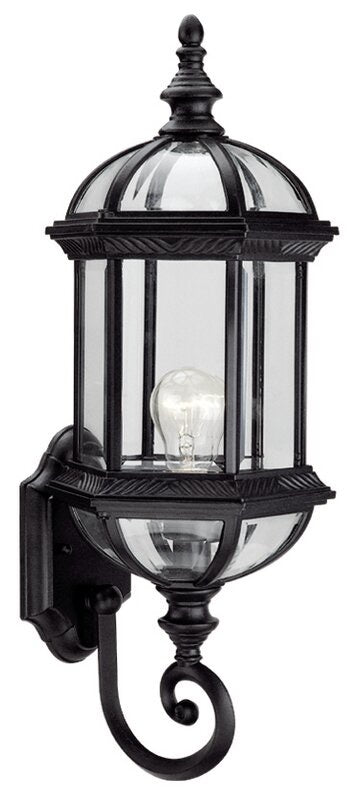 Ulrey Outdoor Wall Lanterns Set of 3 Black/Clear Glass(1796RR-3 boxes)