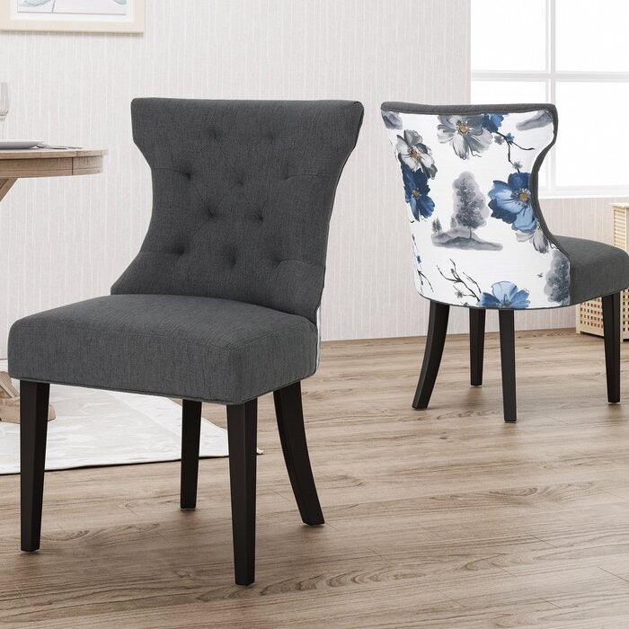 Orourke Two Tone Dining Chairs Set of 2 Gray/Floral(243)