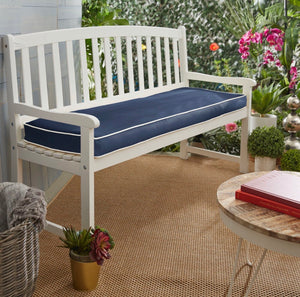 "Indoor/Outdoor Sunbrella Bench Cushion ONLY Navy Blue Size: 3""H x 46""W x 19""D #22HW"