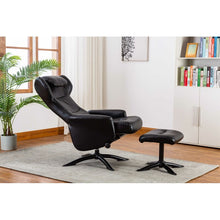 Load image into Gallery viewer, Bourkelands Leather Manual Recliner with Ottoman Black(1991RR)