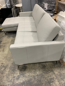 "Corniche Leather 115"" Left Hand Facing Sectional"