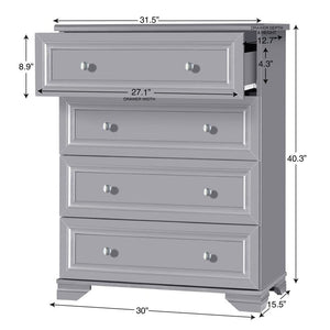 Essex 4 drawer dresser-Gray #241-NT