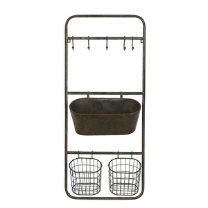 "36.3"" x 15.7"" Rusted Hanging Bin and Baskets with Hooks(1629RR)"