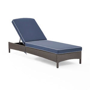 Crawfordsville Outdoor Chaise Lounge with Cushion Grey/Navy(822)