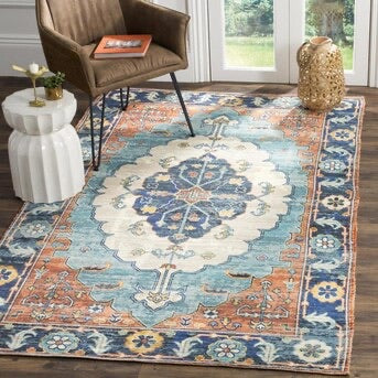 Safavieh Saffron Athina 8 x 10 Blue/Coral Indoor Distressed/Overdyed Vintage Handcrafted Area Rug Multi(1929RR)