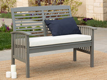 Load image into Gallery viewer, Boardwalk 48 in. Grey Wash Acacia Wood Outdoor Loveseat Bench AS IS(717)