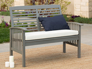 Boardwalk 48 in. Grey Wash Acacia Wood Outdoor Loveseat Bench AS IS(717)