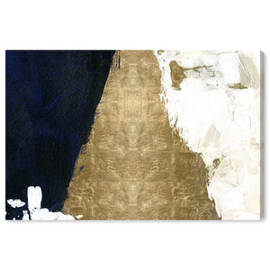 "40"" H x 60""W x 2""D Gold/Navy Blue/Black 'Night and Day Abstract' by Oliver Gal - Wrapped Canvas Print(1922RR)"