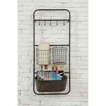 "Load image into Gallery viewer, 36.3"" x 15.7"" Rusted Hanging Bin and Baskets with Hooks(1629RR)"