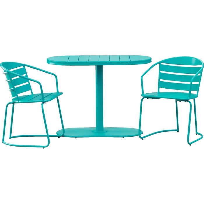 Gunner Swell Crackle Outdoor 3 Piece Bistro Set Teal(630)
