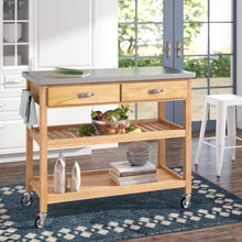Load image into Gallery viewer, Drumtullagh Kitchen Cart with Stainless Steel Top Natural(1619RR)