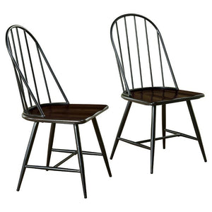 Milo Mixed Media Wood Top Chairs Set of 2 Metal/Black(273)