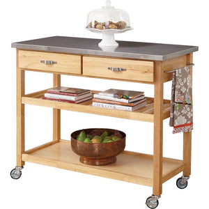 Drumtullagh Kitchen Cart with Stainless Steel Top Natural(1619RR)