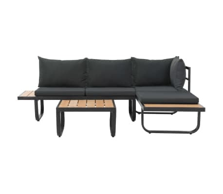 vidaXL 2 Piece Garden Corner Sofa Set with Cushions Aluminium Charcoal AS IS(1884RR-2 boxes)