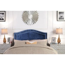 Load image into Gallery viewer, Tal Navy King Velvet Upholstered Headboard AS IS(1901RR)