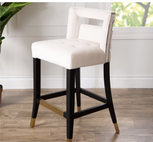 Load image into Gallery viewer, Jolene Velvet Counter Stool-Ivory #332nt
