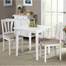 Load image into Gallery viewer, White Dinah 3 Piece Solid Wood Breakfast Nook Dining Set White #305HW