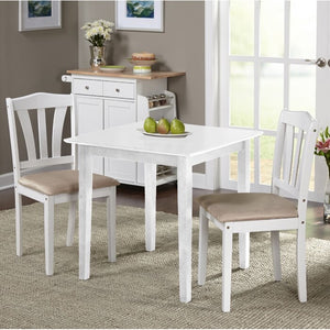 White Dinah 3 Piece Solid Wood Breakfast Nook Dining Set White #305HW