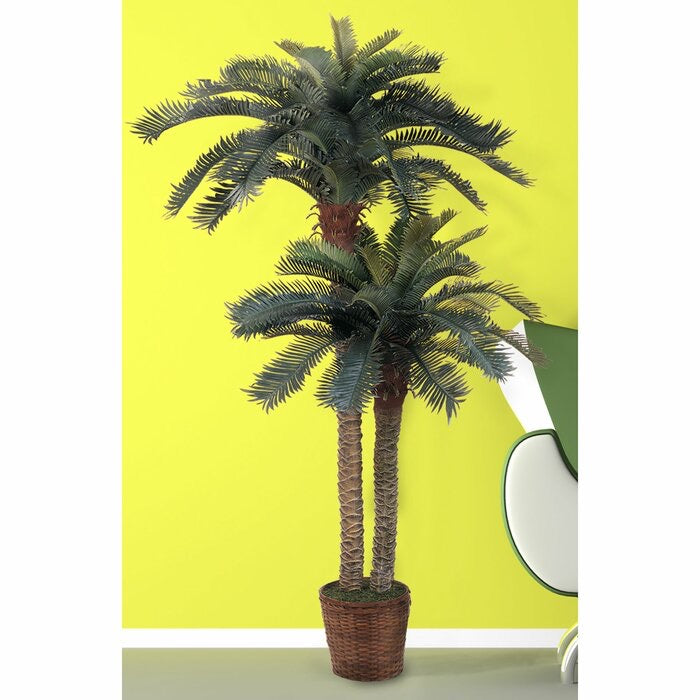 "Double Tree 62"" Artificial Palm Tree in Basket(669)"