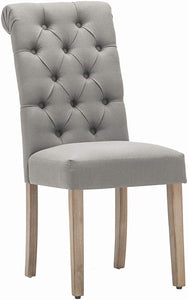 Natalie Button Tufted Dining Chair Gray Set of 2(2045RR)