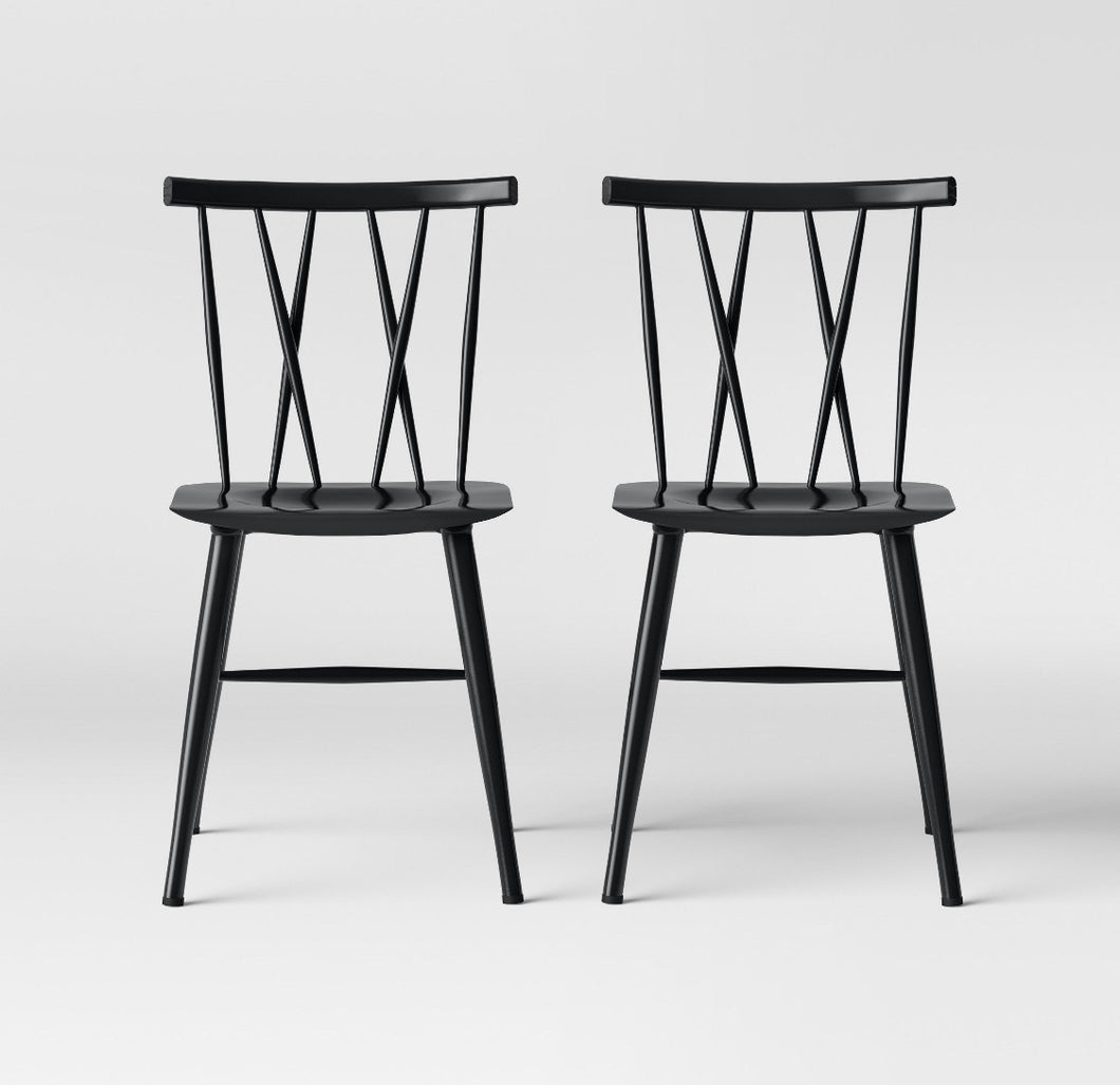 Set of 2 Becket Metal X Back Chair  #9189