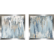 Load image into Gallery viewer, 'Blue Illusion Square' 2 Piece Painting Print Set Silver(1992RR)