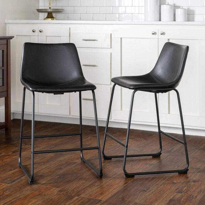 Saracina Faux Leather Dining Kitchen Counter Stools Set of 4 Black(605-2 boxes)