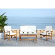 Load image into Gallery viewer, Fontana Natural Brown 4-Piece Wood Patio Conversation Set Teak/Beige(1926RR)