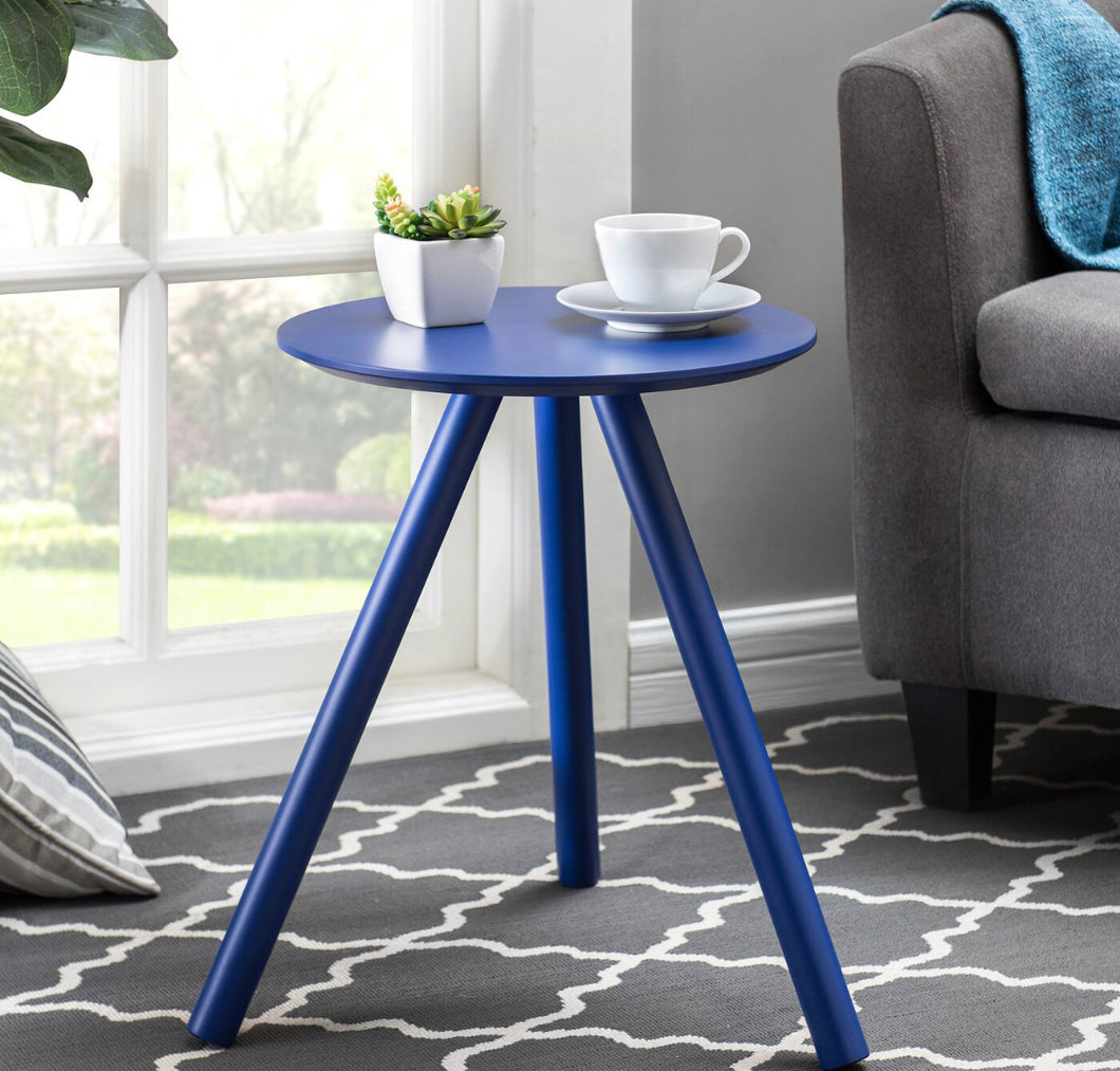 Blinda Solid Color Modernized End table-Blue #263-NT