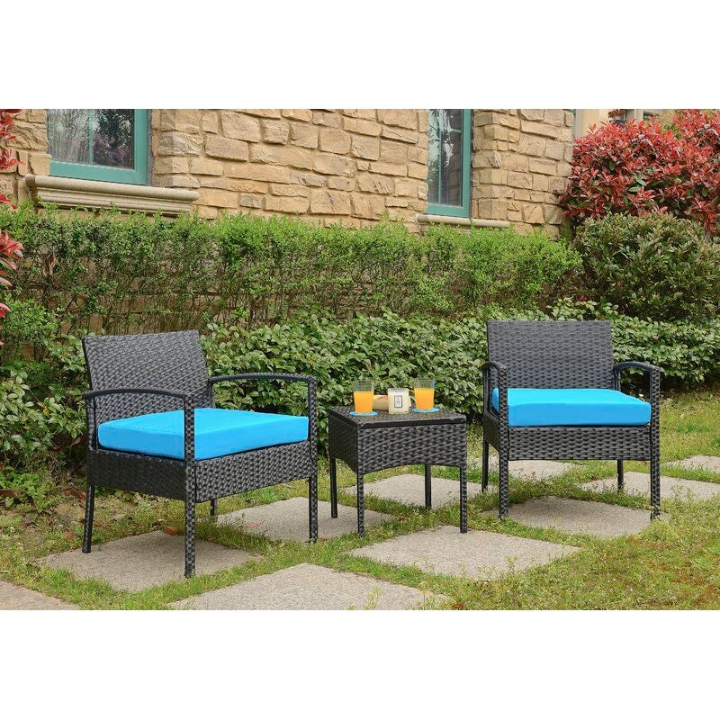 Howzie 3 Piece 2 Person Seating Set Black/Blue Cushions(705)