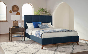 Charity Blue Upholstered Headboard ONLY Cali King Blue AS IS(849)