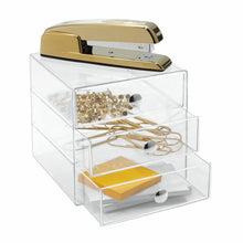 Load image into Gallery viewer, Clear Coby 3 Drawer Desk Organizer Set Of 2 #188HW
