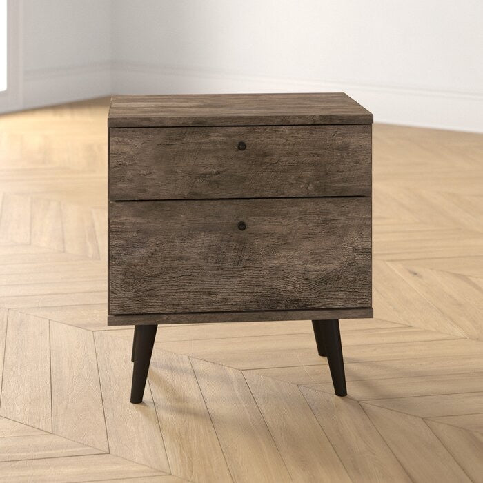 Noah 2 Drawer Nightstand Set of 2 Distressed Brown(524-2 boxes)