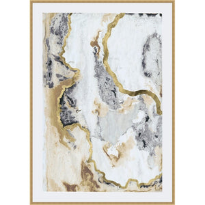 Gray/Gold 'Cinder and Smoke I' - Picture Frame Print on Paper - #39CE