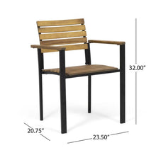 Load image into Gallery viewer, Alberta Outdoor Wood and Iron Dining Chairs Set of 2 Gray/Black(772