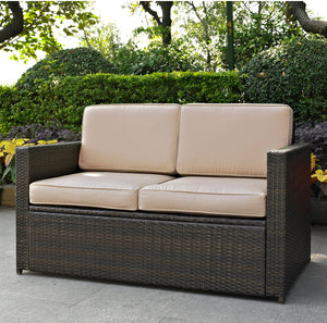 Outdoor Wicker Loveseat Brown AS IS #34HW