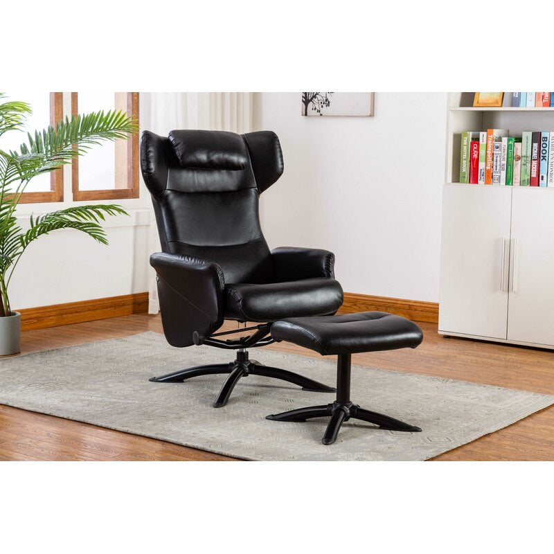 Bourkelands Leather Manual Recliner with Ottoman Black(1991RR)
