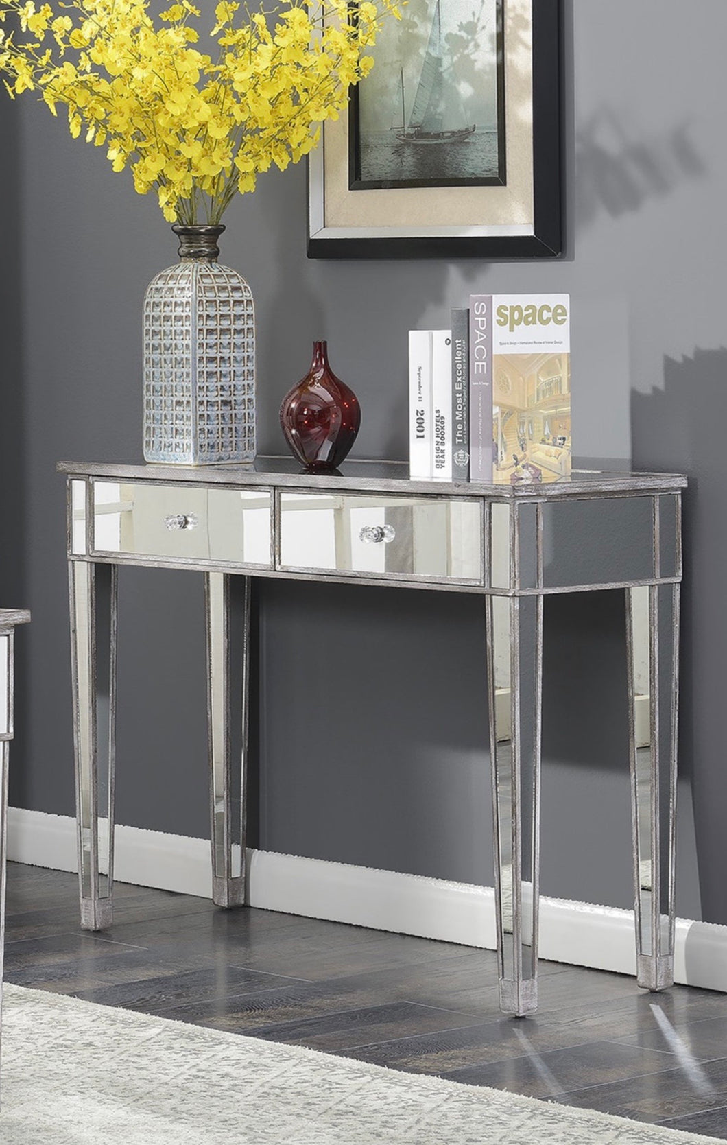 Convenience Concepts Rowland Mirrored Desk Weathered Gray #21HW