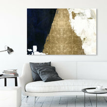 "Load image into Gallery viewer, 40"" H x 60""W x 2""D Gold/Navy Blue/Black 'Night and Day Abstract' by Oliver Gal - Wrapped Canvas Print(1922RR)"