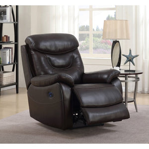 Hurdland Leather Power Recliner Brown