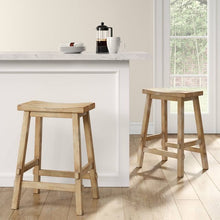 "Load image into Gallery viewer, Halifax Farmhouse Wood 24"" Counter Stool Set of 3 Natural(1849-3 boxes)"