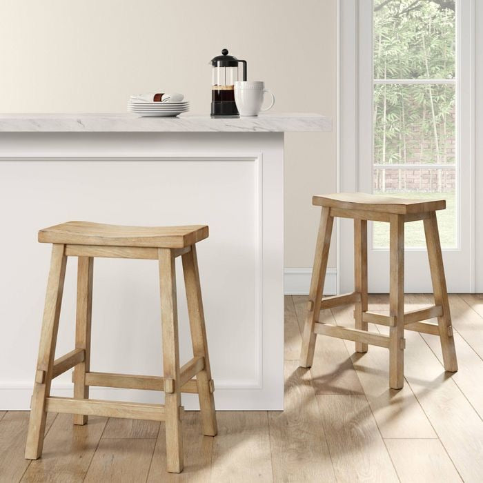 "Halifax Farmhouse Wood 24"" Counter Stool Set of 3 Natural(1849-3 boxes)"