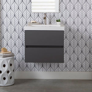"Azucena 24.5"" Wall-Mounted Single Bathroom Vanity Gray(724)"