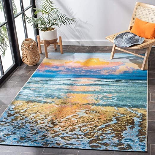"Safavieh Barbados Collection BAR581C Tropical Sunset Indoor/ Outdoor Area Rug 5'3"" x 7'6"" #267-NT"