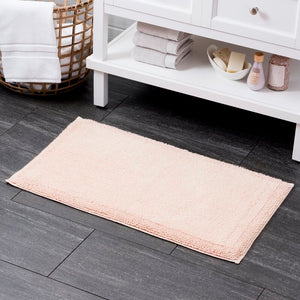 Blush Plemmons Luxury Rectangle 100% Cotton Non-Slip Bath Rug #143HW
