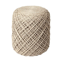 Load image into Gallery viewer, Aneika 16'' Round Plaid Pouf Ottoman Cream(1928RR)