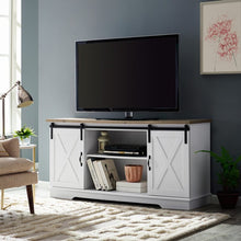 "Load image into Gallery viewer, Berene TV Stand for TVs up to 64"" White/Barnwood AS IS(1627)"