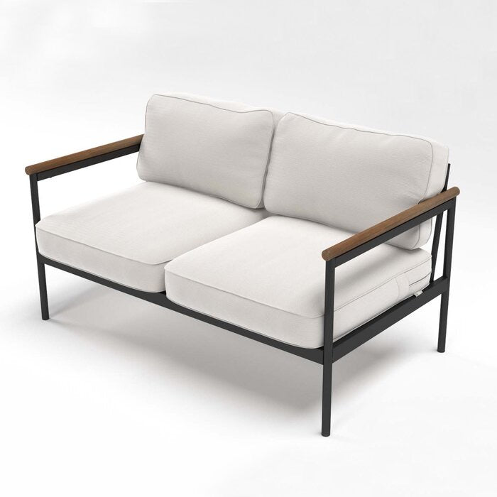 Zinus Outdoor Loveseat with Cushions Black/Natural(496)